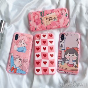 Japanese cute cartoon apple 8 mobile phone shell iPhone7plus/8/6sp/X vibrating network red girl pink