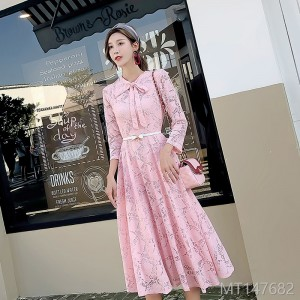 2018 new lace dress temperament cold light gentle skirt long section Korean version of the big skirt