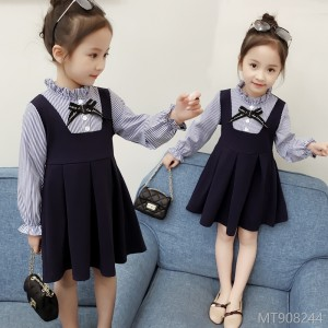 2018 autumn new girls long-sleeved dress children's clothing girls small set stitching small fresh fake two-piece skirt