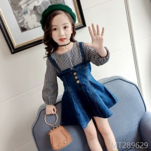 2018 spring and autumn girls fake two-piece dress Korean version of the tide girl cotton denim skirt