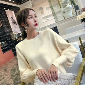 2018 autumn and winter new sweater women's head in the long section of the lantern sleeves bottoming sweater dress