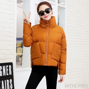 Solid color collar zipper 2018 winter long sleeve thick short pocket down jacket