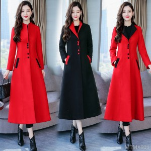 Solid color single-breasted 2018 winter long-sleeved long high-waist woolen coat