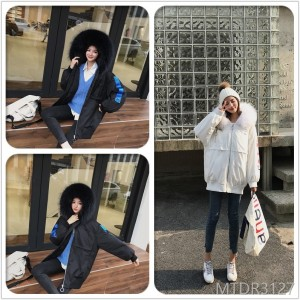 2018 winter long sleeve long trend fashion comfortable casual hooded down jacket