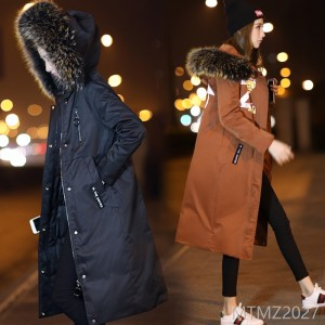 Korean version of the trend of fashion, casual, simple and temperament, long down jacket, 2018 winter solid color