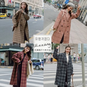 Plaid in the long suit collar double-breasted thickening straight 2018 winter woolen jacket female students Korean version