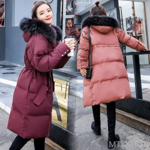 Zipper long sleeves in the long section 2018 winter coat / cotton clothing casual fashion trend