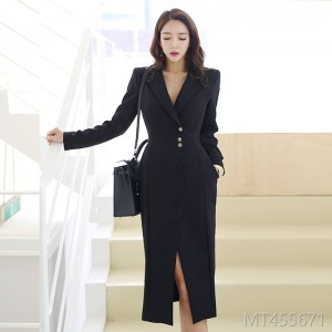 2018 women's fashion white collar professional dress Korea