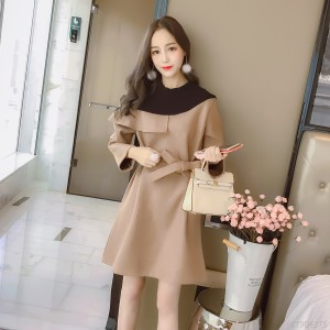 2018 autumn and winter new wool twill splice asymmetrical bandage waist waist quality dress dress