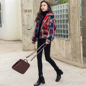 2018 retro lattice BF wool coat, female autumn winter suit new Korean version short.