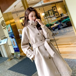 2018 autumn and winter new pure color high collar A version woolen coat, long coat in bandage.