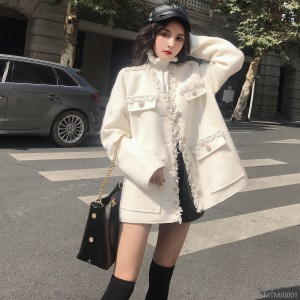 2018 small fragrant wind woolen coat, female thicker, short, loose moron woolen coat, Korea.