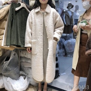 2018 South Korean temperament, loose, velvet, warm, medium, long, knee, lamb, coat, woman, Korea.