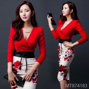 2018 autumn new female mid length sexy V collar long sleeve hip Hip fashion two piece dress Korea