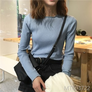2018 short, long sleeved T-shirt, women's loose and pure colored shirt, thin knitted Jersey.