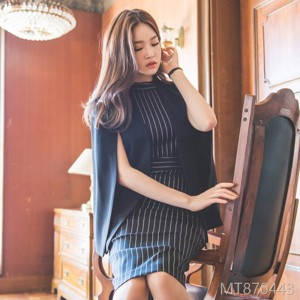 2018 new cloak two wear jacket, striped dress, bottom dress, Korea.