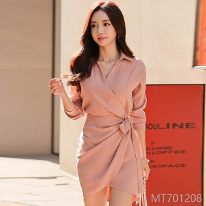 2018 temperament, women's wear, sexy, thin, shirt, dress, fashion, dry, professional dress, South Korea.