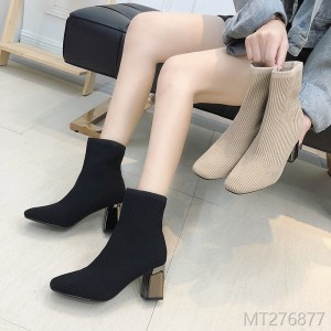 2018 women's boots and ankle boots, square, thin, knitted elastic socks, women's shoes.