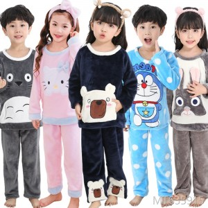 2018 boys and girls, long sleeves, thickened coral velvet sets, cartoon boy baby home clothes.