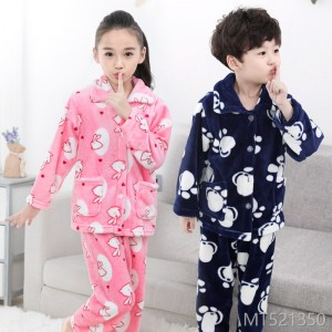 2018 children's flannel pajamas, girls, babies, boys, home furnishing, children's thickening, boys' coral pile sets.