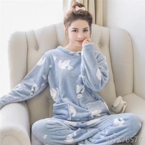 2018 thick and large coral coral long sleeved suit, lovely cartoon, Korean version, casual home clothes.