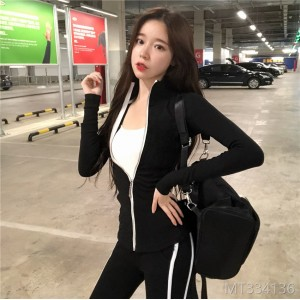 2018 autumn Han edition slim training leisure sports suit long sleeved sweater trousers suit