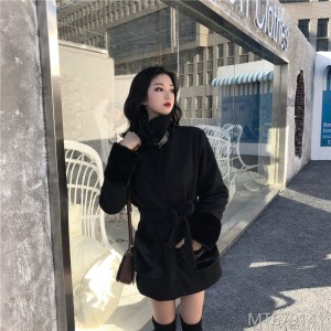 2018 Korean version makings, wool and wool, wool coat, cotton wool collar, warm coat and belt.