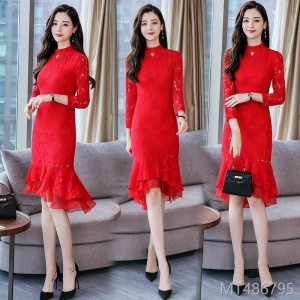 2018 medium length improvement, Qipao skirt, lace dress, bottom fish tail.