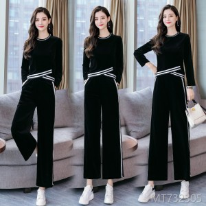 2018 autumn new women's wear Korean version leisure society wide leg pants two sets of fashionable
