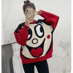 2018 autumn and winter cartoon, red sweater, sweater, sweater, sweater, lover's coat.