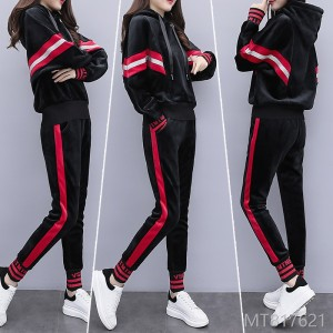 2018 gold velvet set new style autumn winter plus velvet leisure sports suit Korean version thickening two