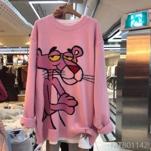 2018ins lazy wind cartoon pink sweater, female head loose Pink Panther knitted sweater.