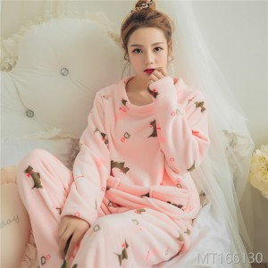 2018 pajamas, women's cartoon, round neck, lovely big code, Korean long sleeved suit, home clothes.