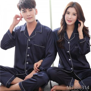 2018 couples pajamas, men's suits, ice silk, Korean long sleeves, leisure big code home furnishing clothes.