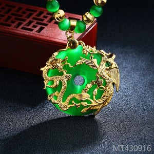 2018 sand gold dragon phoenix hollowed out safety buckle Necklace