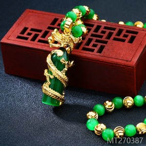 2018 gold plated jade, sand gold, Panlong man Necklace