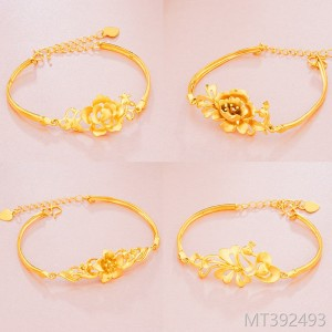 2018 sandblasting flowers lady's bracelet plated 24K gold brass plated bracelet lady