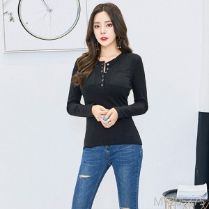 2018 women's shirt, T-shirt, bottom shirt, Korean fashion, solid color button, half open collar, autumn dress.