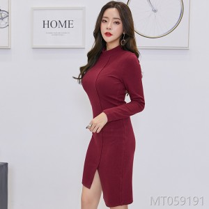 2018 women's dress, sexy, autumn, Korean, fashion, irregular, long sleeves.