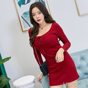 2018 long sleeved dress, autumn dress, Korean version, fashion bandage skirt.