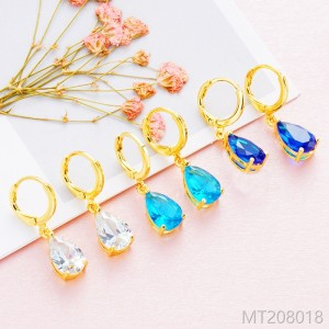 2018 plated 24K genuine gold inlaid drops of Zircon Earrings