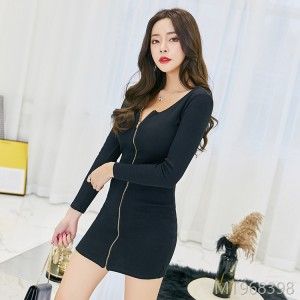 2018 new Korean fashion dress zipper dress female