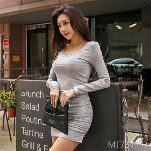 2018 autumn new style mid length long bottoming collar collar skirt