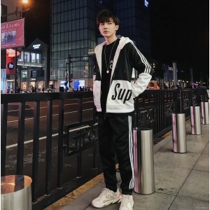 2008 new style of sanitary wardrobe men's student leisure Korean version trend winter flannel thickening suit