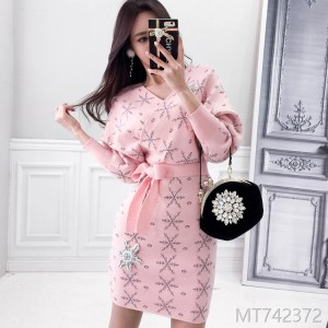 2008 sweater bottom skirt knitted dress snowflake drill wrapped buttock thick skirt woman