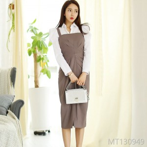 2008 Autumn Clothes New Korean Edition Slim Shirt Top Closed Waist Fold Back Skirt Dress Dress Suit