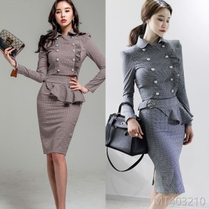 2008 Autumn and Winter New Korean Style Double-row Button Jacket, Slimming Lotus Leaf Edge Button Skirt Suit