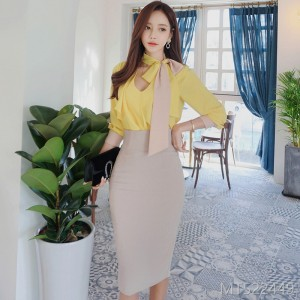 Autumn 2008 new Korean version of temperament matching color Necklace shirt jacket slimming package hip skirt suit