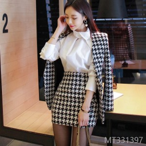 2008 Slim Stitching Thousand Birds Gear Suit Wool Outerwear Fashion Button Skirt Suit