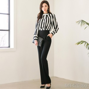 Autumn 2008 New Korean Style Fashion Stripe Shirt Slender Trousers Professional Suit